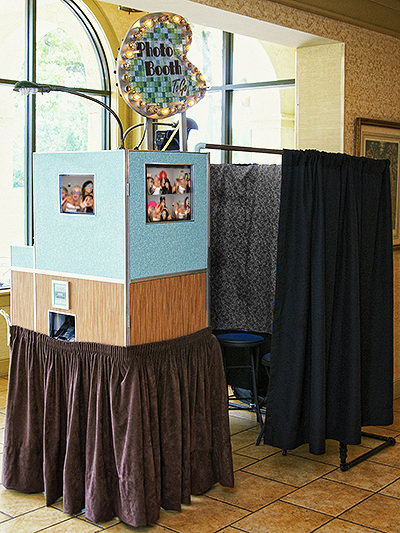retro photo booth with curtains